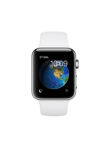 Apple Series 2 38 mm Gümüş Rengi Alüminyum Kasa Beyaz Spor Kordon Renkli